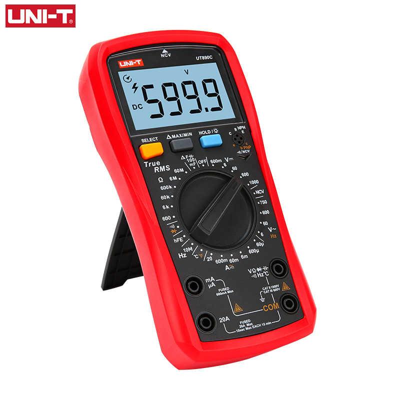 UNI-T UNI T 디지털 멀티 미터 True RMS UT890C UT890D + 수동 범위 AC DC 주파수 커패시턴스 온도 테스터 백라이트