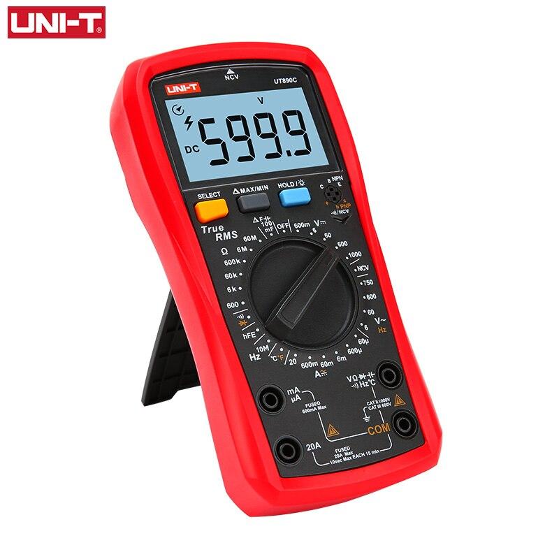 UNI-T UNI T multimètre numérique véritable RMS UT890C UT890D + gamme manuelle AC DC fréquence capacité testeur de température rétro-éclairage