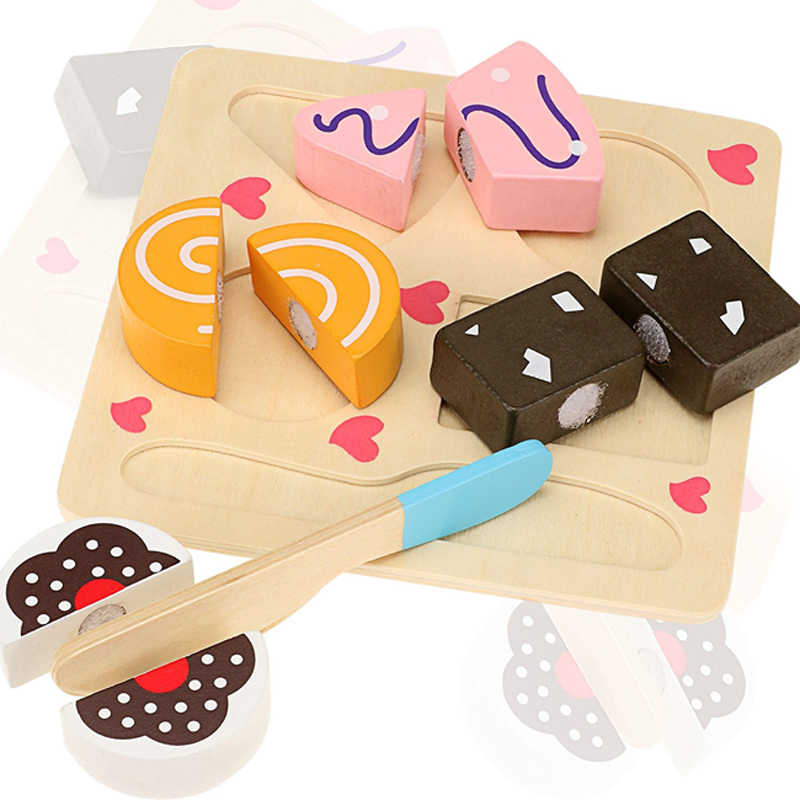 Good 3D Puzzle Shape Matching Jigsaw Baby Pretend Play Cutting Wooden Toy Fruits Dessert Set Fun Educational Food Cognition