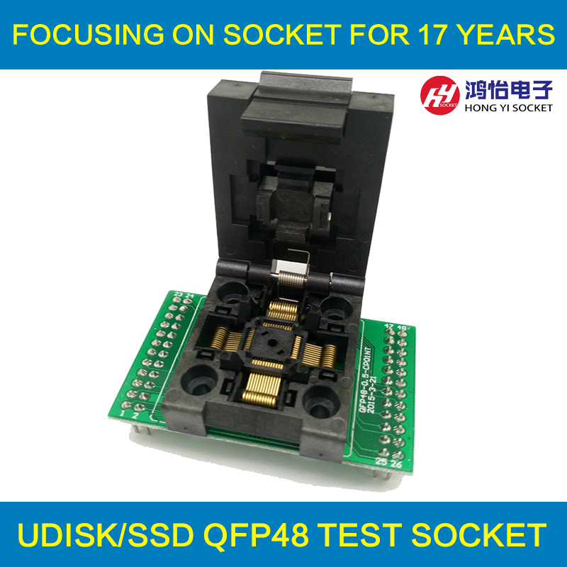 QFP48 TQFP48 LQFP48 to DIP48 Programming Socket Pitch 0.5mm IC Body Size 7x7mm FPQ-48-0.5-06 Test Socket Adapter tqfp48 to dip48 programmer adapter qfp48 ic test socket 1pin to 1pin pitch 0 5mm size 7mmx7mm 9mm 9mm