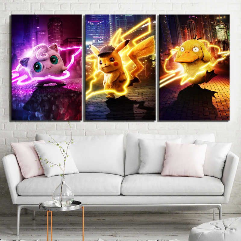 Hot Sales Without Frame 5 Panels Picture Super Pokemon