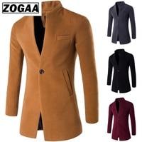 ZOGAA Autumn Spring Coat Casual Wool Overcoats Men Clothing Windbreaker Men's Long Slim Cardigan Jacket Coats Mandarin Collar