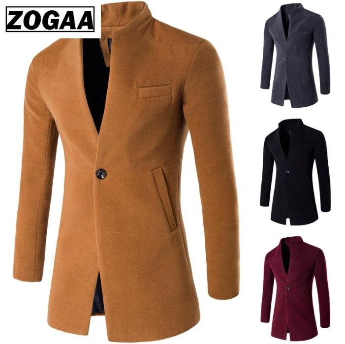 ZOGAA осенне весеннее пальто повседневные шерстяные пальто мужская одежда ветровка мужская длинная тонкая куртка кардиган пальто воротник стойка