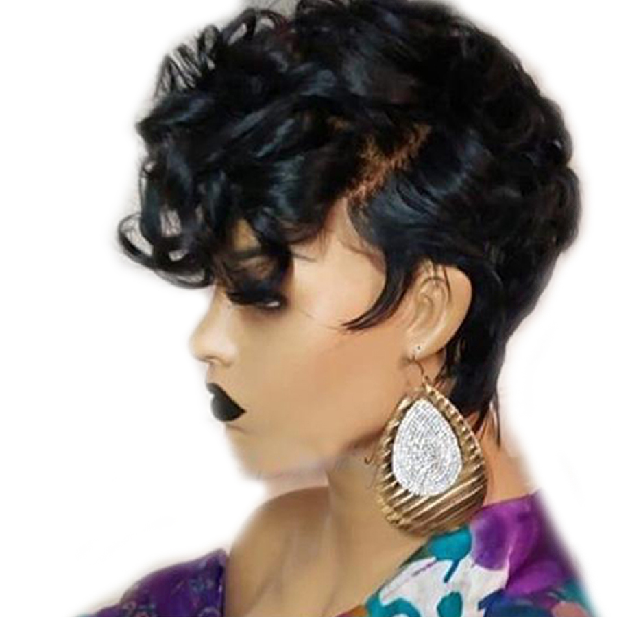 13x6 Remy Brazilian Short Pixie Human Hair Wigs For Women Bouncy Curly Glueless Black Color (Side Bangs Cut) 150% Density