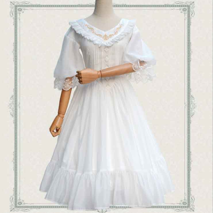 Femmes gothique Style victorien Lolita robe trois quarts manches JSK Vintage Organza dentelle blanc noir robe de princesse grande taille XL