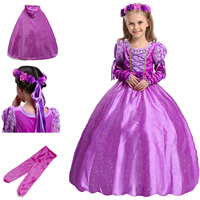 2017 Children Purple Princess Sofia Rapunzel Dresses Kids Party Christmas Cosplay Costume Girls Clothes with Sleeves