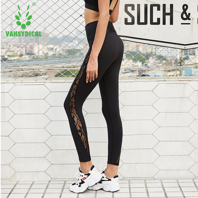 0aacbd869fc01 Vansydical Womens Gym Mesh Yoga Pants Lace Leggings Workout Compression  Tights Running Tights Fitness Workout Sports Leggings