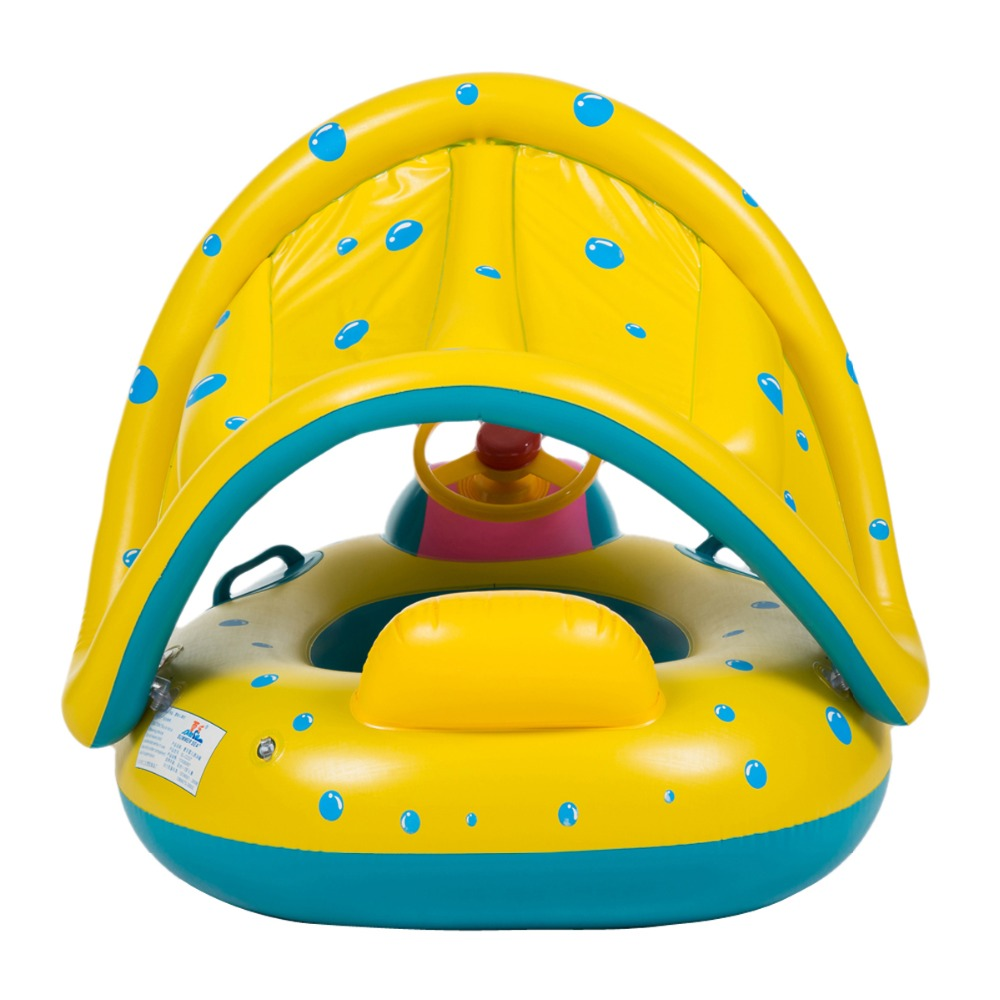 Infalatable Adjustable Sunshade Kids Water Fun Toy Swimming Toys Portable Summer Safety Baby Infant Children Swimming Seat Float playmobil 5266 summer fun детский клуб с танц площадкой