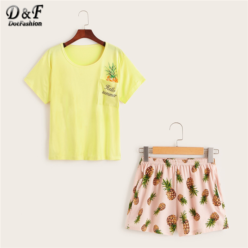 Dotfashion Pineapple And Letter Print   Pajama     Set   2019 Summer Casual   Pajamas   For Women Spring Ladies Cute Short Sleeve Loungewear