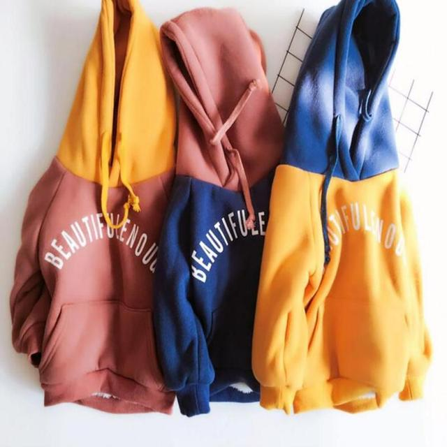 Boy Girls Hoodies Clothes sweatshirts for children baby letter pattern Casual Kids Plus velvet Hoodies Tops Costume R2-16H