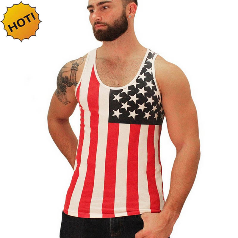 Summer 2016 Fashion USA Flag print tank top clothing fitness men vest Sweat 100 cotton hombre
