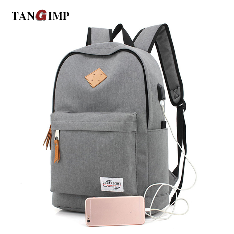 TANGIMP USB Design Backpacks Book Bags For School Man Casual Rucksack Daypack Laptop Vintage Bolsos