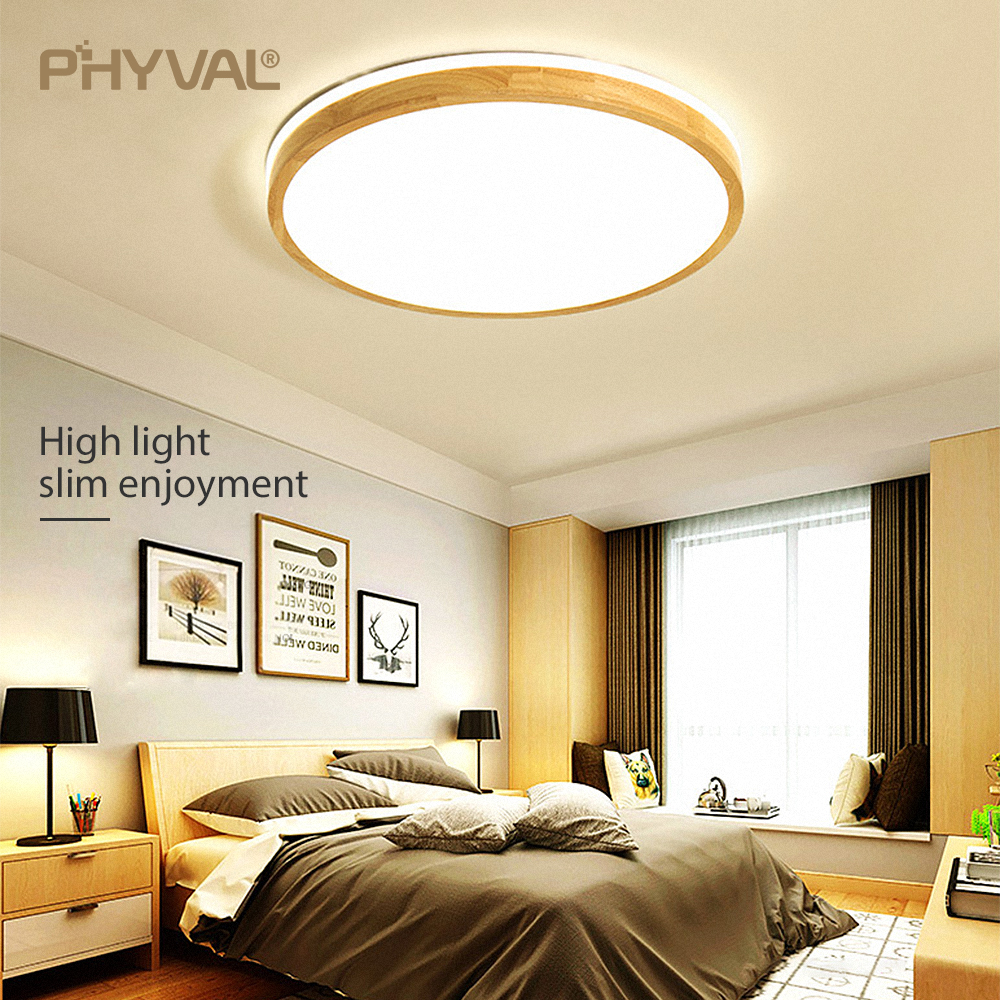 Wooden LED Ceiling Lamp Round Square 7cm Surface Mounted Ceiling Light modern Living Room Bedroom Kitchen