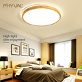 Деревянный светодиодный потолочный светильник круглый квадратный 7 см поверхностный потолочный светильник современный потолочный светил...