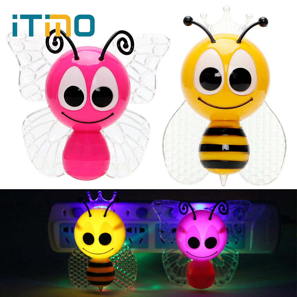 ITimo Bee Animal LED Night Light Baby Night Light Butterfly Cute Home Decoration Lovely EU Plug Children Lamp Gift For Baby