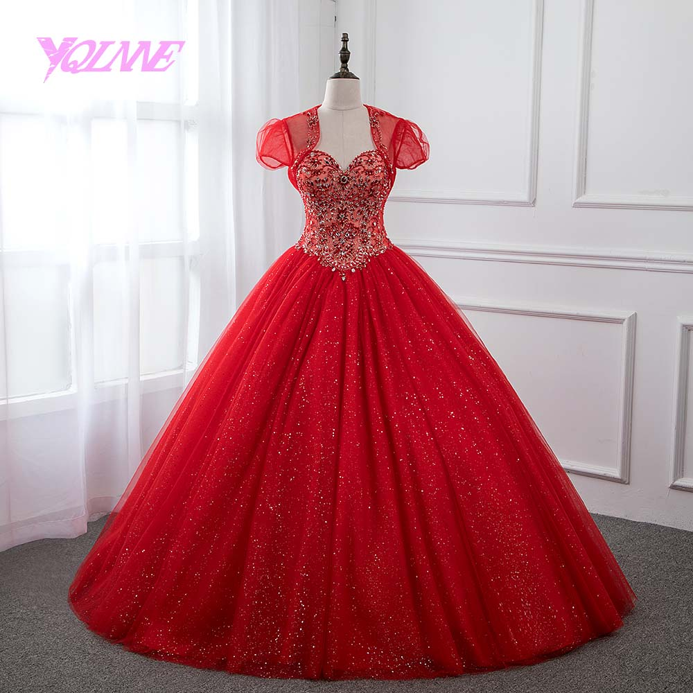 58285d05e9b6 Detail Feedback Questions about YQLNNE Red Rhinestones Quinceanera ...