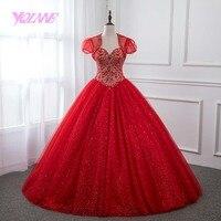 YQLNNE Red Rhinestones Quinceanera Dresses Ball Gown Sweet 16 Dress Debutante vestidos de 15 anos