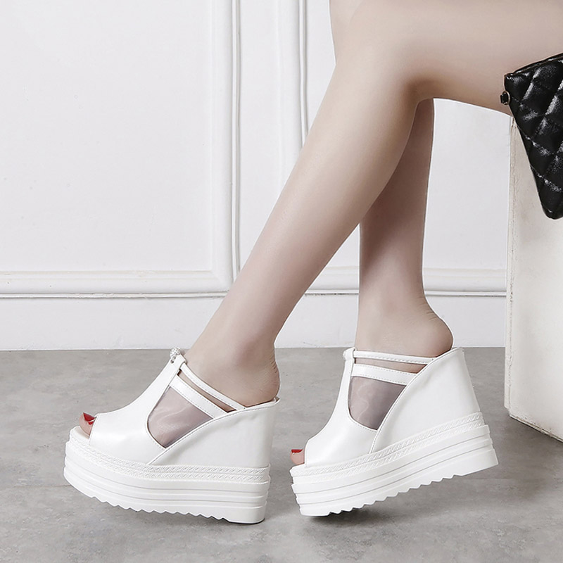 Small Size 34 Fashion Women Sandals 12CM Solid White Black High Heel Summer Shoes Women Party Wedding Open Toe Platform Sandals women high heel shoes women slingbacks sandals genuine leather solid color black white summer fashion casual shoes round toe