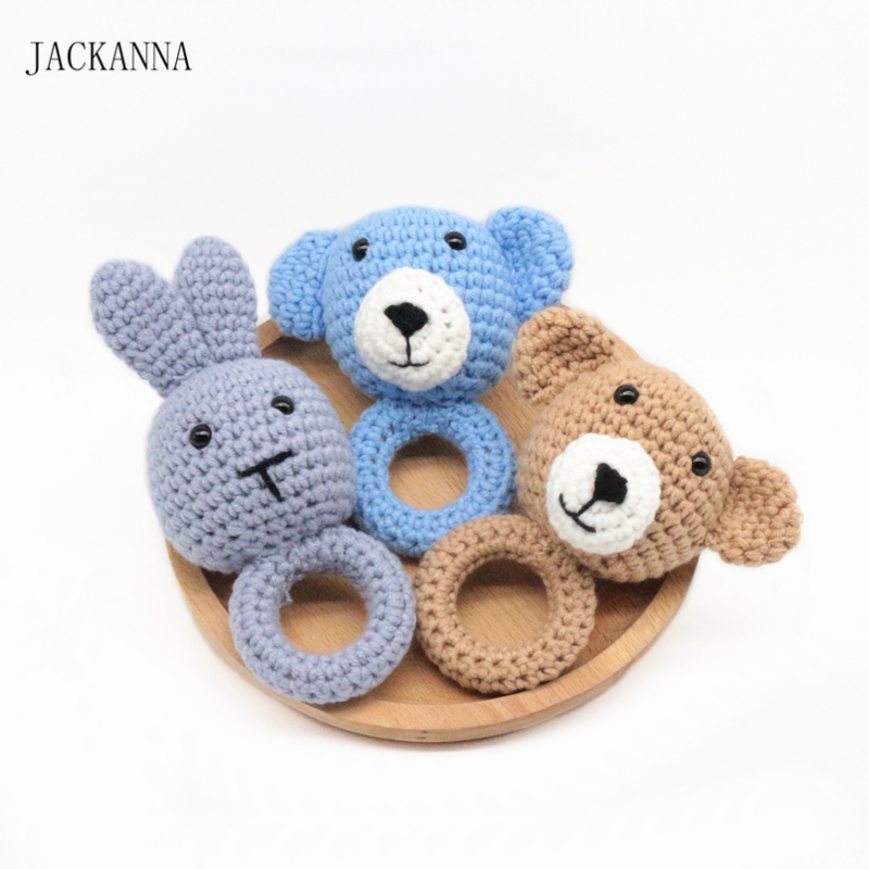 Bear Rabbit Wooden Teether Crochet Animal Wooden Rings Rattle With Bell Teether Baby Teething Nursery Toy Baby Teether