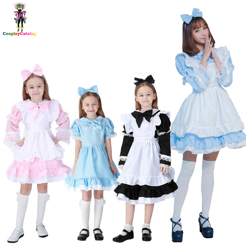 Black/Pink/Blue Alice in Wonderland Halloween Costume for Women,Maid Kids Lolita Dress Fantasia Carnival Costumes High 90 170 cm