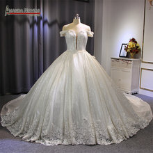 Luxury dubai wedding dress shinny fabrics lace ball gown princess ball gown wedding gown 2019