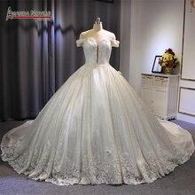 หรูหราดูไบงานแต่งงานชุด shinny ผ้าลูกไม้ลูกไม้ชุดเจ้าหญิงชุดบอลชุดแต่งงานชุด 2019