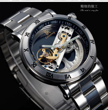 Unique Flywheel Hollow Skeleton Design All Steel 5ATM Waterproof Watches Men Luxury Famous Top Brand Automatic Mechanical Watch