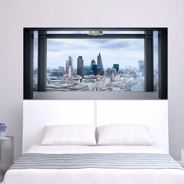 2 Teile/satz 3D Fensterbank Stadtbild Nachtwandleuchte Aufkleber Für Schlafzimmer  Dekoration 90*180 Cm