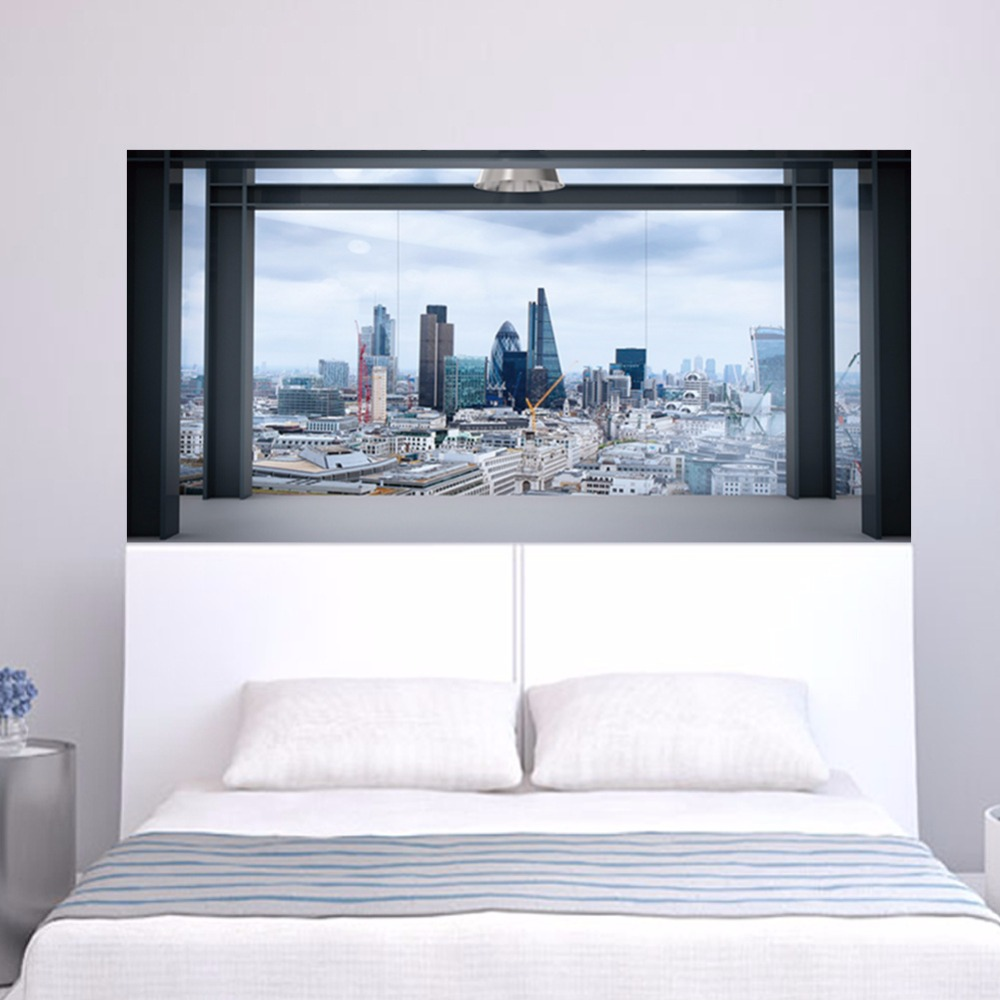 popular cityscape wall murals buy cheap cityscape wall murals lots 2pcs set 3d windowsill cityscape bedside wall sticker for bedroom decoration 90 180cm large