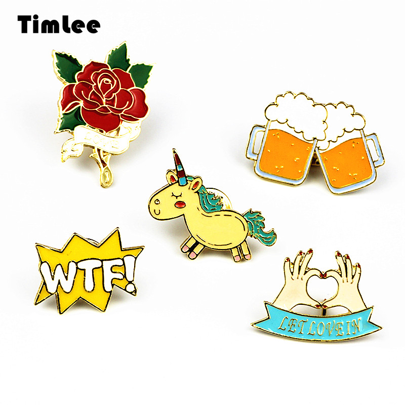 Timlee X223 Aranyos állatok Unicorn zománc Pin Love Hand Beer WTF Rose bross Pins Button pin Fashion Jewelry Wholesale