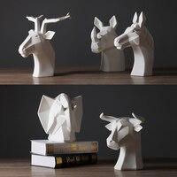 Creative geometric origami deer rhinoceros bull elephant ceramic statue decor modern home porch ornament abstract decor wedding