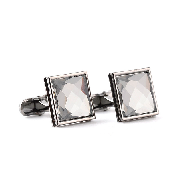 High Crystal Purple Square Silver Cufflink Luxury Men's Shirts Cufflinks Button High-end Wedding Jewelry