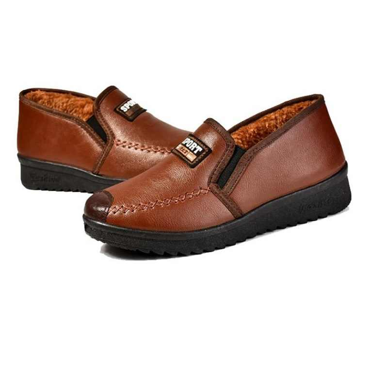 Nuevas botas de nieve cálidas de felpa de invierno para mujer, botas de piel de PU de plataforma impermeables informales, zapatos, botas de invierno para mujer zapatos