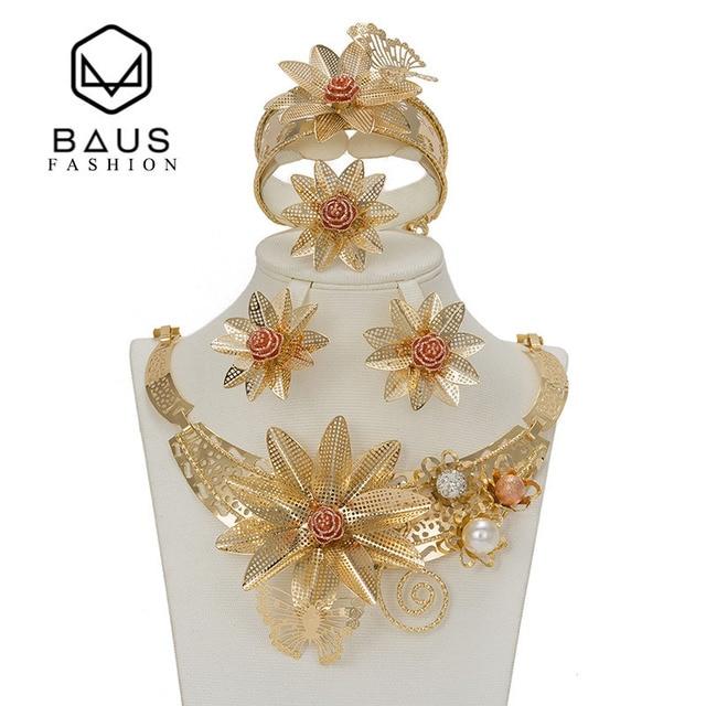 BAUS Dubai anzug schmuck blume typ farbe Gold schmuck-set Nigerianischen hochzeit afrikanischen perlen äthiopischen gold Braut zubehör
