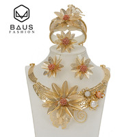 Dubai Indian Arabic Gold Jewelry Set Ethiopian Gold Color Nigerian Wedding African Beads Ethiopian Gold Bridal