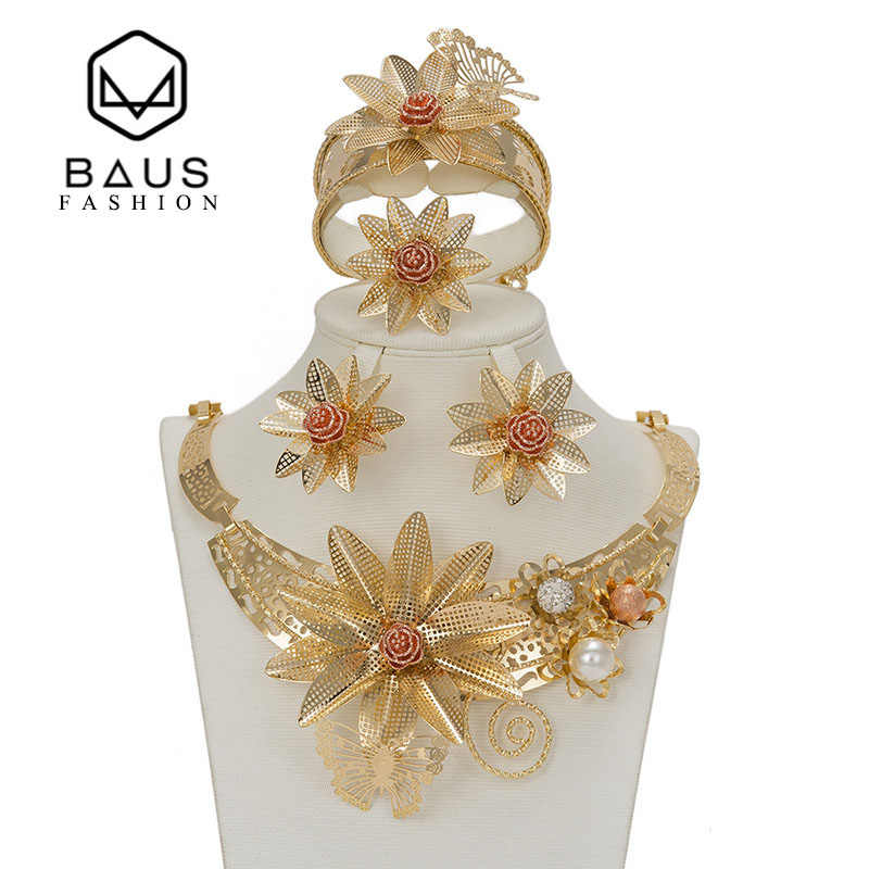 BAUS Dubai suit jewellery flower type Gold color jewelry set Nigerian wedding african beads ethiopian gold Bridal accessories