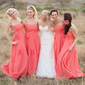 Chiffon Bridesmaid Dresses Floor Length Coral Lovely Honor of Bride Dresses Wedding Party Gowns Custom made size and Color