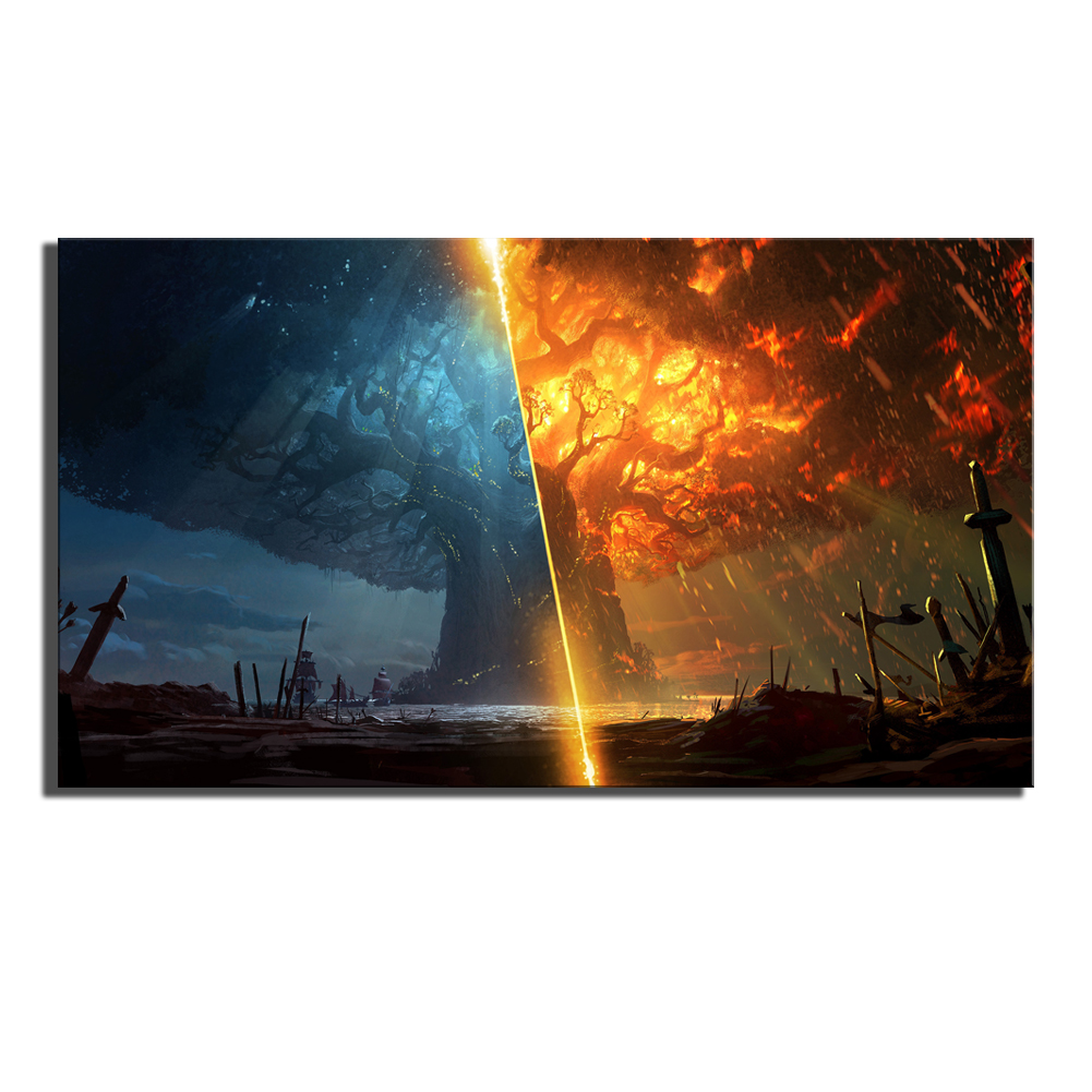 Game Poster Print Teldrassil Burning World of Warcraft Battle for Azeroth Canvas Painting Fan Art Wall Decor Cuadros Decorcion 2