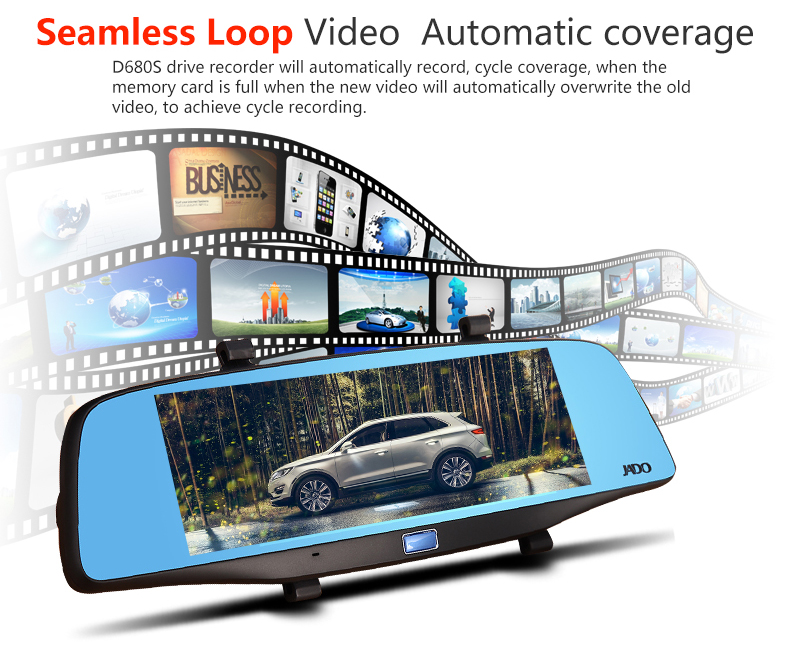 JADO D680S Car Dvr Camera Full HD 1080P Car Dvrs Dual Lens Recorder 6.86' Car Camera Dash cam ADAS Rearview Mirror Registrar 18