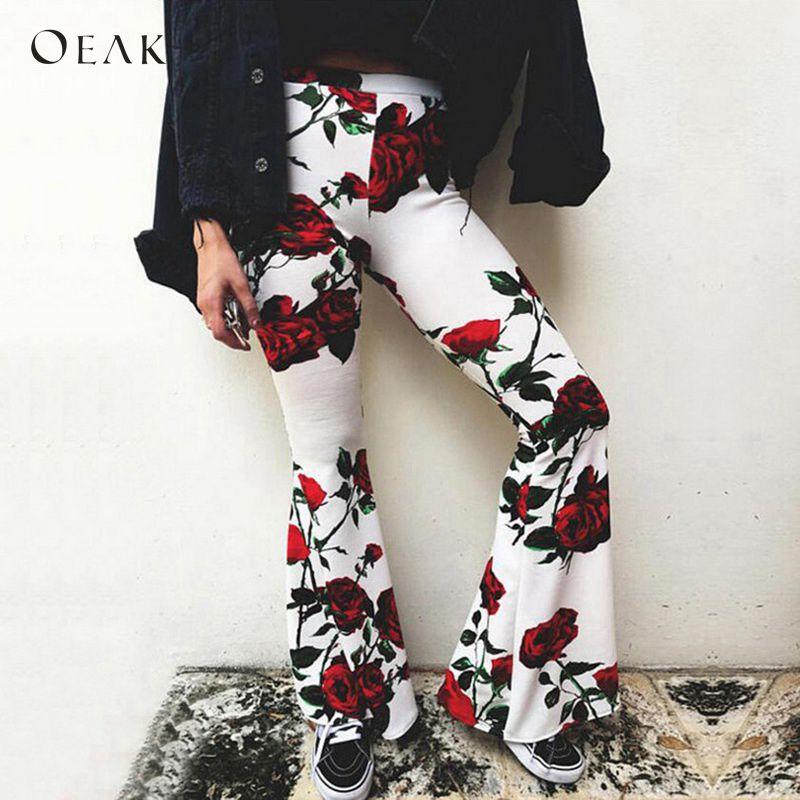 OEAK Women Fashion Floral Print Flare   Pants   Casual Elastic Waist   Wide     Leg     Pants   Trousers Sexy Party Club Boho Pantalones 2018