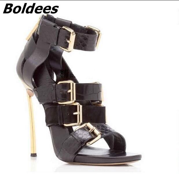 Trendy Designer Soft PU Leather Metal Heeled Sandals Woman Snakeskin Matched Buckles Decoration Stiletto Heels Dress Shoes - 3