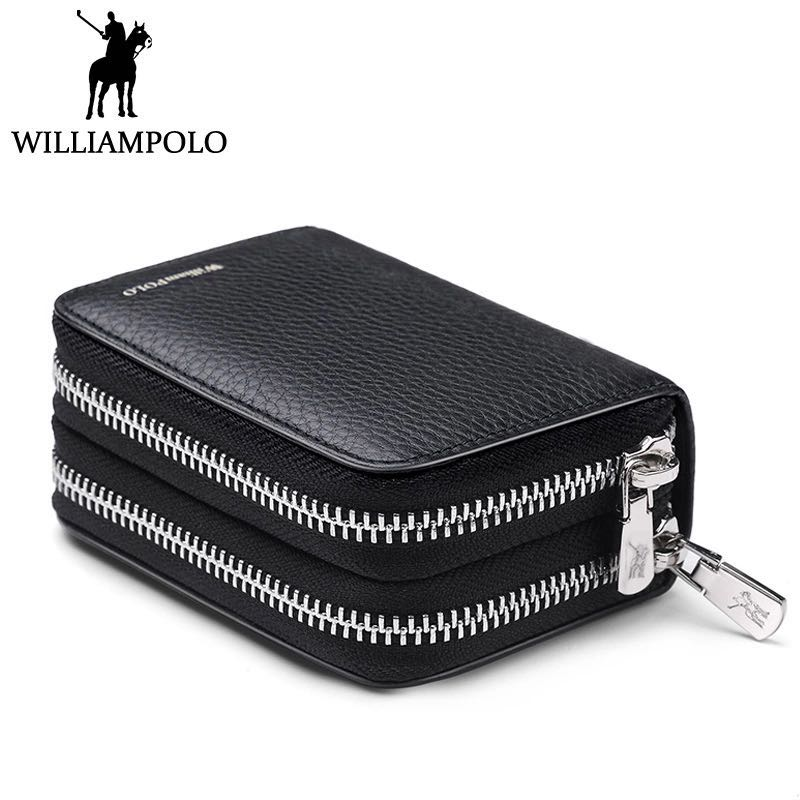 Genuine Leather Credit Card Holder Men Double Zipper Business Card Wallet Driver License Case ID Card Holder Box Man polo290