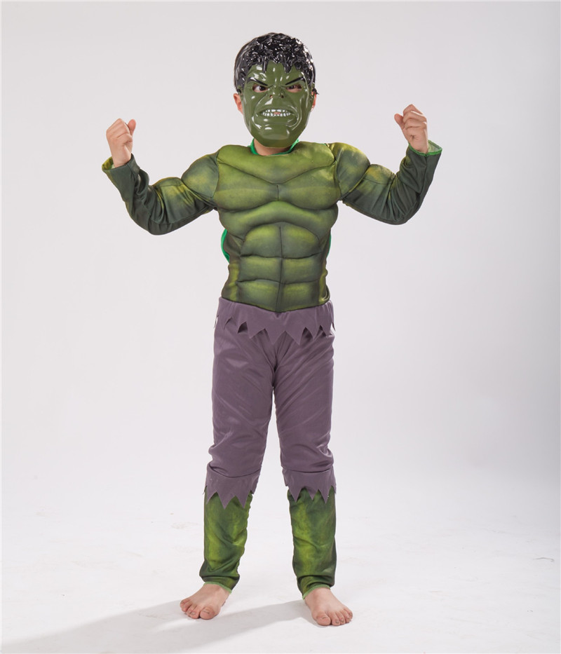 Halloween Cosplay Hulk Costumes For Kids BoyThe Avengers Hulk Muscle Costume With Mask Funny Party Wear Green Giant Clothes