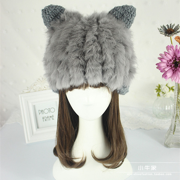 new Hat female winter parent-child cap rabbit fur hat cute ear protector cap warm hat knitted hat kid fur capautumn and winter