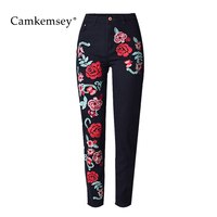 CamKemsey 3XL Plus Size Vintage Flower Embroidery High Waist Jeans Woman Loose Black Straight Jeans Pants Female Trousers