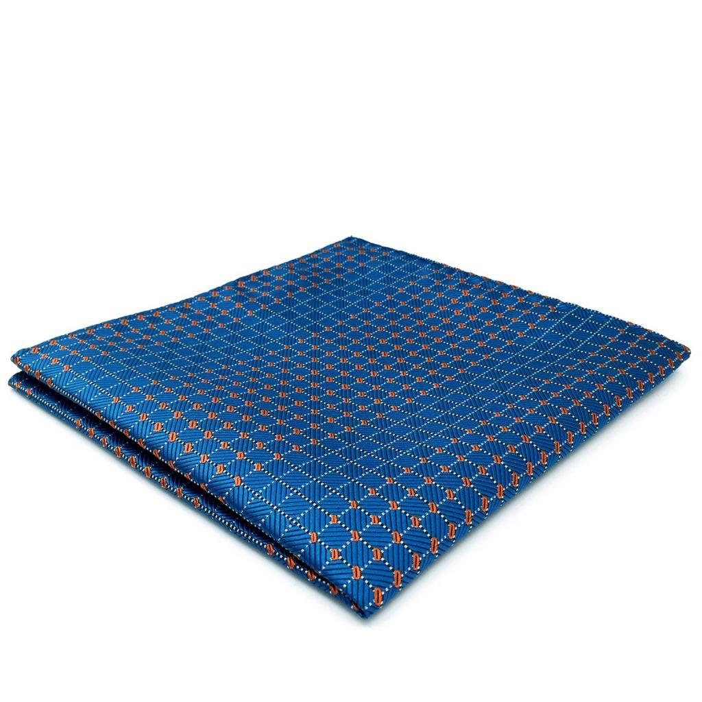 BH05 Men Pocket Square Blue Multicolor Checked Jacquard Woven Silk Casual Fashion Handkerchief