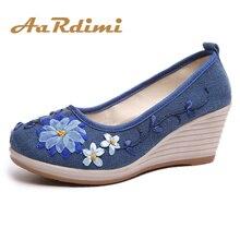 AARDIMI обувь с вышивкой ручной работы; женская обувь на платформе Повседневное на танкетке парусиновая обувь Для женщин женские туфли-лодочки на высоком каблуке; женские туфли на низком каблуке