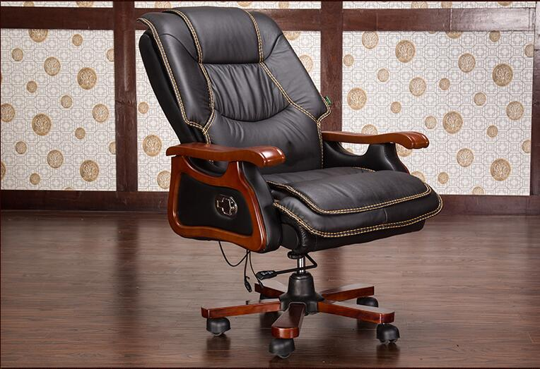 Solid Wood Armrest Office Chair.06 Home Massage Can Lie In The Leather Chair Fashion Style Boss Chair Real Leather Computer Chair
