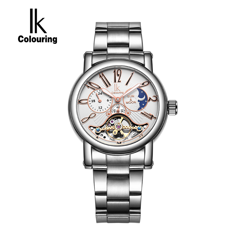 IK Colouring Moon Phase Stainless Steel Automatic Mechanical Men 24 Hours Hollow Skeleton Military Watch Relogio Masculino 1Atm k colouring women ladies automatic self wind watch hollow skeleton mechanical wristwatch for gift box