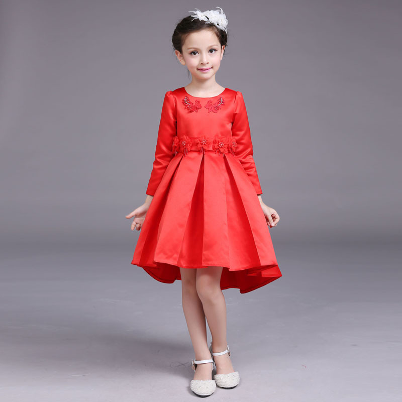 Flowers Red Girl Dress Party Birthday Flower Girl Vestido for Wedding 2017 Kids Clothes of 3 4 6 8 10 12 14 Years RKF174037 embossed tpu gel shell for ipod touch 5 6 girl in red dress